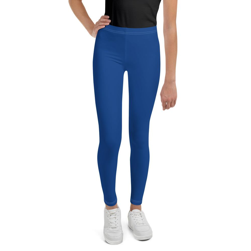 Navy Blue Solid Color Premium Youth Gym Sports Comfy Leggings Tight- Made in USA-Youth's Leggings-8-Heidi Kimura Art LLC