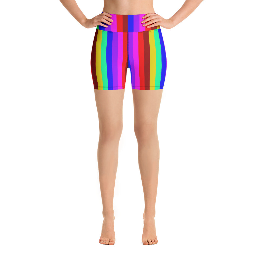 Rainbow Color,Gay Pride Pattern Womens Fold Over Yoga Shorts Exercise Gym Jogger Short Pants