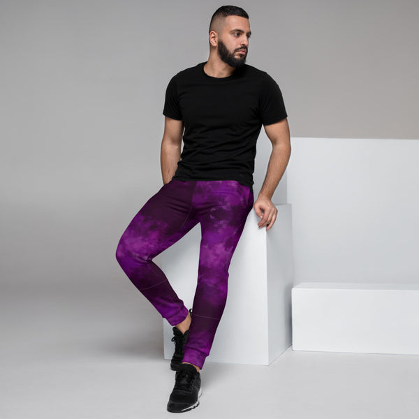 Purple Abstract Men's Joggers, Best Purple Premium Quality Sweatpants For Men, Modern Slim-Fit Designer Ultra Soft & Comfortable Men's Joggers, Men's Jogger Pants-Made in EU/MX (US Size: XS-3XL)