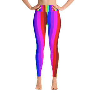 Women's Rainbow Gay Pride Parade Gym Active Fitted Leggings Sports Yoga Pants-Leggings-XS-Heidi Kimura Art LLC Rainbow Striped Women's Leggings, Women's Rainbow Gay Pride Parade Gym Active Fitted Leggings Sports Yoga Pants - Made in USA/EU (US Size: XS-XL)