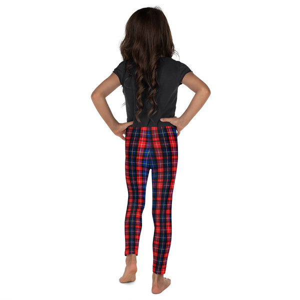 Red Plaid Tartan Print Designer Kid's Leggings Activewear Pants (2T-7) Made in USA/EU-Kid's Leggings-Heidi Kimura Art LLC