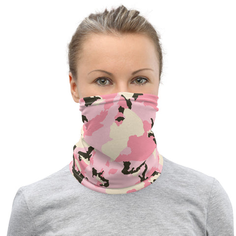 Pink Brown Camo Neck Gaiter, Army Military Camouflage Print Face Shield Mask Covering-Made in USA/EU-Heidi Kimura Art LLC-Heidi Kimura Art LLCPink Brown Camo Neck Gaiter, Army Camouflage Military Face Mask Shield, Luxury Premium Quality Cool And Cute One-Size Reusable Washable Scarf Headband Bandana - Made in USA/EU, Face Neck Warmers, Non-Medical Breathable Face Covers, Neck Gaiters