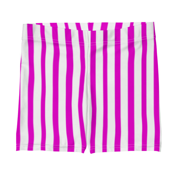 Hot Pink Workout Women's Shorts, Striped Designer Exercise Short Tights-Heidikimurart Limited -Heidi Kimura Art LLC Hot Pink Striped Women's Shorts, Best Pink and White Vertical Stripes Designer Women's Elastic Stretchy Shorts Short Tights -Made in USA/EU/MX (US Size: XS-3XL) Plus Size Available, Gym Tight Pants, Pants and Tights, Womens Shorts, Short Yoga Pants