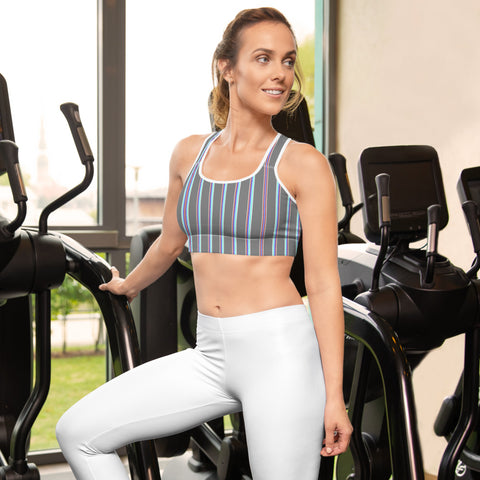 Grey Striped Padded Sports Bra-Heidikimurart Limited -White-XS-Heidi Kimura Art LLC Grey Striped Padded Sports Bra, Vertical Stripes Cute Ladies Workout Girlie Women's Fitness Workout Bra, Padded Yoga Gym Workout Sports Bra For Female Athletes - Made in USA/ EU/ MX (US Size: XS-2XL)