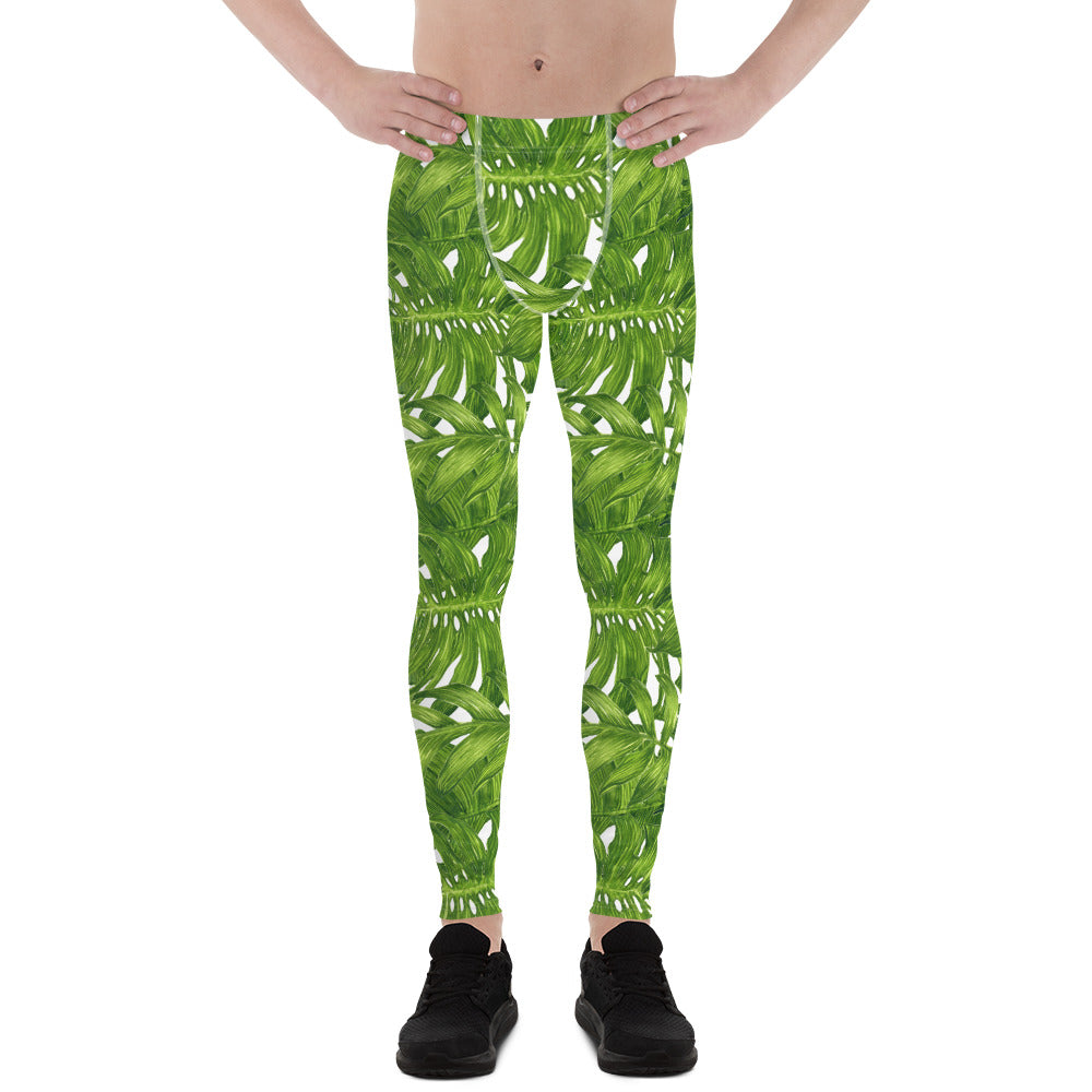 White Green Tropical Leaves Print Men's Leggings Tights Meggings- Made in USA/EU-Men's Leggings-XS-Heidi Kimura Art LLC