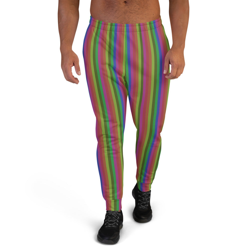 Vintage Style Rainbow Stripe Print Designer Men's Joggers Pants Bottoms- Made in EU-Men's Joggers-XS-Heidi Kimura Art LLC