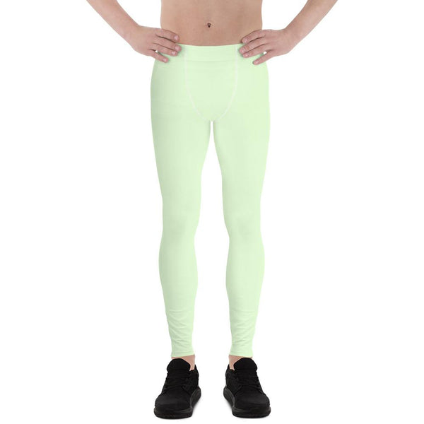 Light Pastel Mint Green Meggings Compression Tights Men's Leggings-Made in USA/EU-Men's Leggings-XS-Heidi Kimura Art LLC
