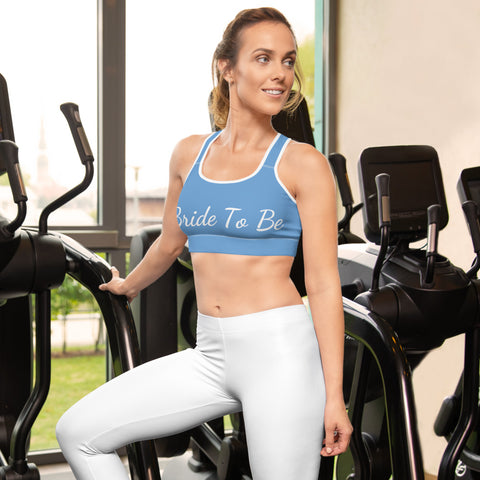 Light Baby Blue Bride To Be Unpadded Women's Premium Sports Bra- Made in USA/ EU-Sports Bras-Heidi Kimura Art LLC Light Blue Bride Sports Bra, Light Baby Blue Bride To Be Text Premium Unpadded Elastic Polyester Spandex Women's Unpadded Gym Workout Sports Fitness Bra For Future Brides - Made in USA/ EU (US Size: XS-2XL)