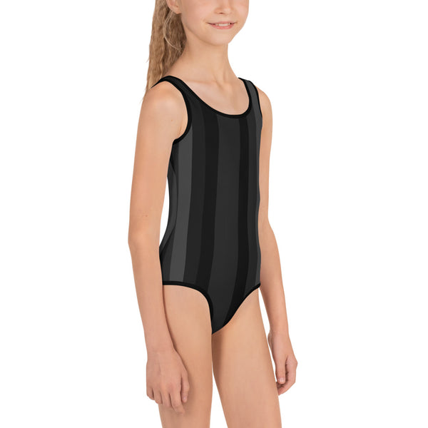 Black Grey Vertical Striped Print Girl's Cute Kids Swimsuit Swimwear- Made in USA/EU-Kid's Swimsuit (Girls)-Heidi Kimura Art LLC