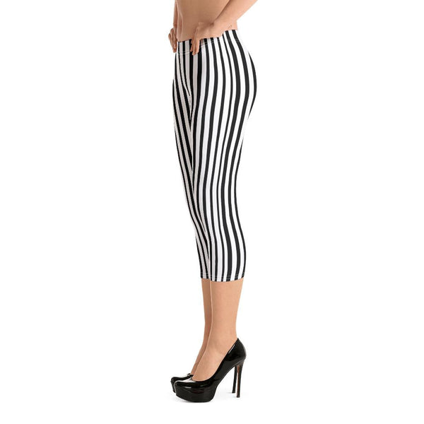 Black White Vertical Striped Print Women's Dressy Fashion Capri Leggings- Made in USA/ EU-capri leggings-Heidi Kimura Art LLC