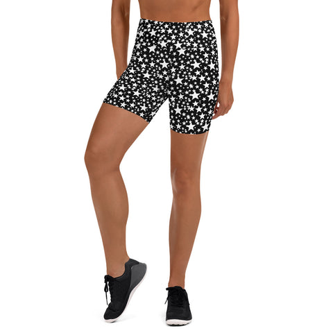 Black White Star Print Pattern Designer Fitness Workout Yoga Shorts- Made in USA/EU-Yoga Shorts-XS-Heidi Kimura Art LLC Black Star Yoga Shorts, Black White Star Print Pattern Premium Quality Women's High Waist Spandex Fitness Workout Yoga Shorts, Yoga Tights, Fashion Gym Quick Drying Short Pants With Pockets - Made in USA (US Size: XS-XL)