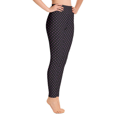 Pink And Black Polka Dots Print Women's Yoga Leggings Workout Pants- Made in USA/EU-Leggings-Heidi Kimura Art LLC Pink Polka Dots Women's Leggings, Pink Black Polka Dots Print Premium Women's Active Wear Fitted Leggings Sports Long Yoga & Barre Pants, Sportswear, Gym Clothes, Workout Pants - Made in USA/EU (US Size: XS-XL)