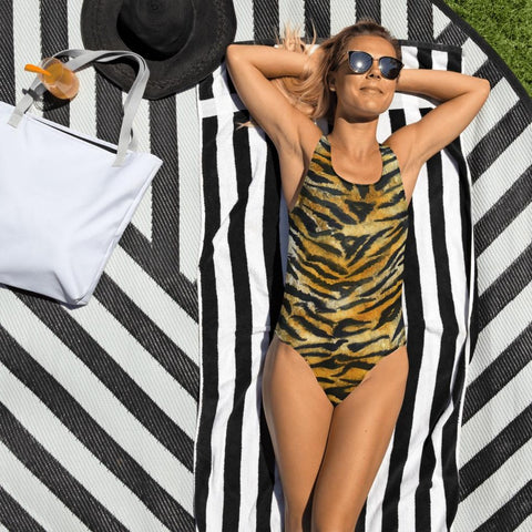 Orange Tiger Stripe Swimwear, Women's Luxury One-Piece Swimsuit-Made in USA/EU-Heidi Kimura Art LLC-XS-Heidi Kimura Art LLC Orange Brown Tiger Stripe Swimwear, Animal Print Women's Luxury 1-Piece Swimwear Bathing Suits, Beach Wear - Made in USA/EU (US Size: XS-3XL) Plus Size Available