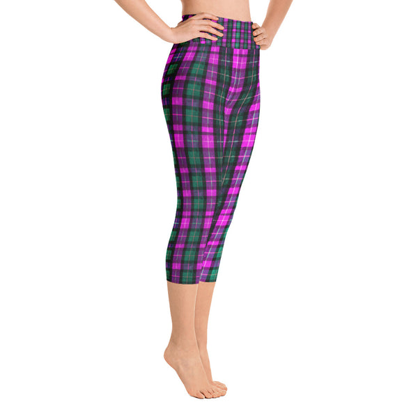 Pink Green Plaid Women's Yoga Capri Pants Leggings w/ Pockets- Made In USA-Capri Yoga Pants-Heidi Kimura Art LLCPink Plaid Women's Capri Leggings, Pink Green Plaid Women's Cotton Yoga Capri Pants Leggings With Pockets Plus Size Available- Made In USA/ Europe (US Size: XS-XL)
