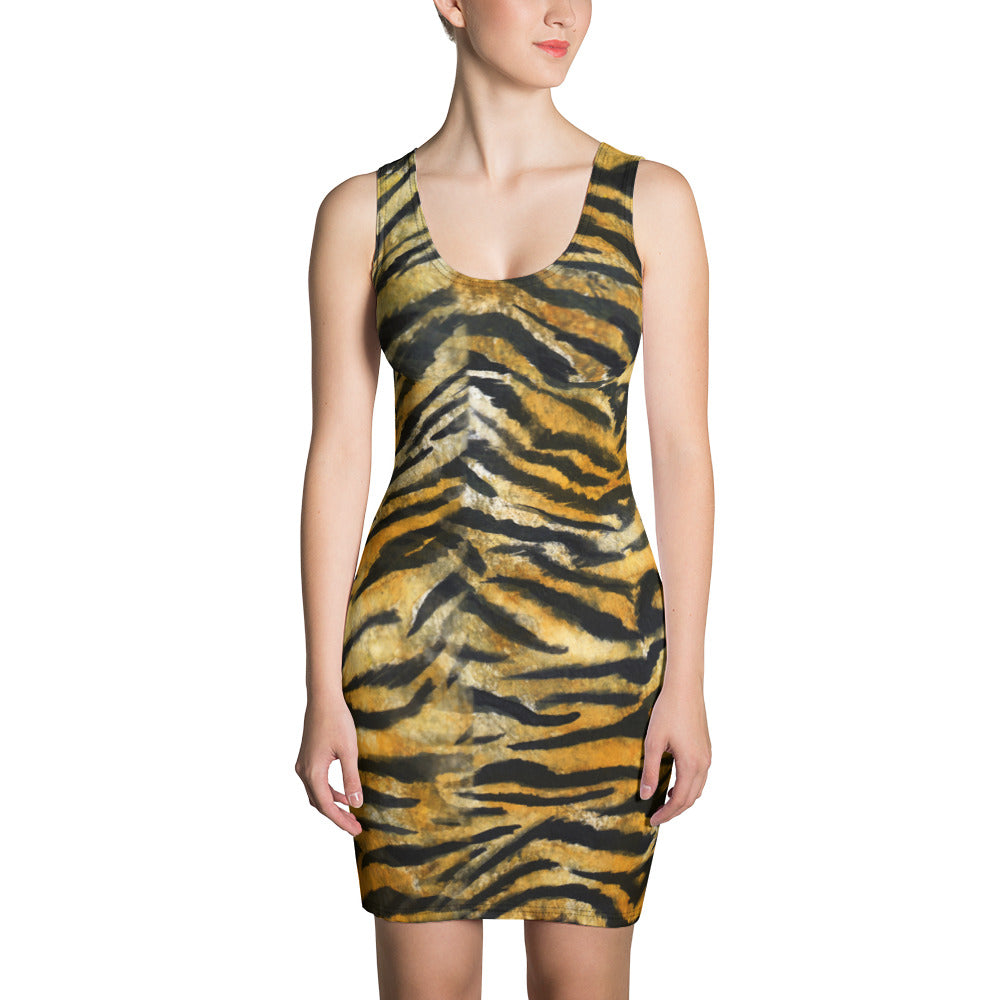 Orange Bengal Tiger Striped Women's Sleeveless 1-pc Long Best Tank Dress - Made in USA-Women's Sleeveless Dress-XS-Heidi Kimura Art LLC