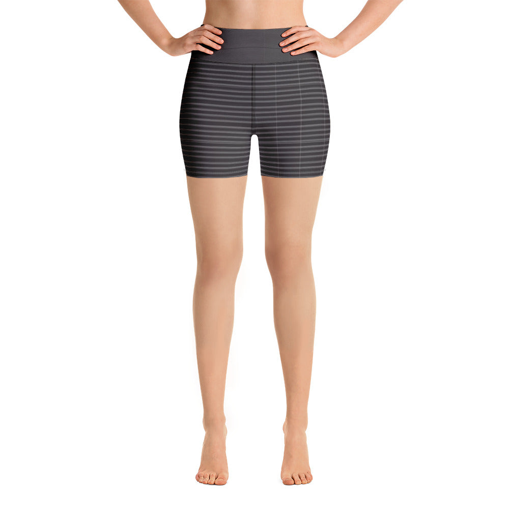 Black White Striped Yoga Shorts, Classic Modern Women's Short Tights-Made in USA/EU-Heidikimurart Limited -XS-Heidi Kimura Art LLC Black White Striped Yoga Shorts, Classic Modern Horizontally Stripes Printed Premium Quality Women's High Waist Spandex Fitness Workout Yoga Shorts, Yoga Tights, Fashion Gym Quick Drying Short Pants With Pockets - Made in USA/EU/MX (US Size: XS-XL)