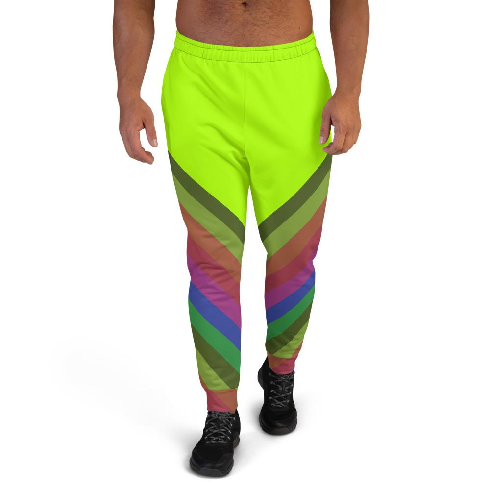Neon Green Faded Rainbow Stripe Print Men's Rave Party Fashion Joggers - Made in EU-Men's Joggers-XS-Heidi Kimura Art LLC