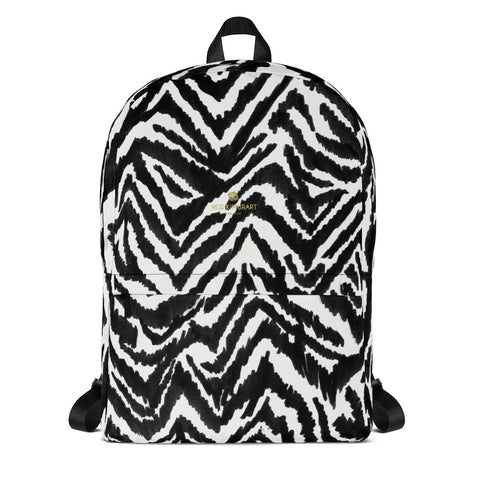 Classic Chic Zebra Animal Print White Black Laptop Computer Backpack Bag- Made in USA/EU-Backpack-Heidi Kimura Art LLC