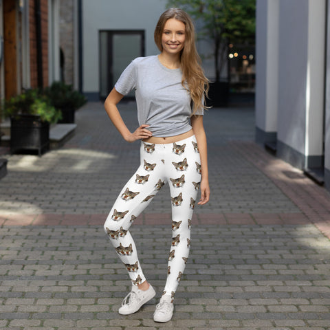 White Peanut Meow Calico Cat Print Women's Causal Yoga Leggings- Made in USA/EU--Heidi Kimura Art LLC White Cat Leggings, Peanut Meow Calico Cat Print Women's Long Dressy Casual Fashion Leggings/ Running Tights - Made in USA/ EU (US Size: XS-XL)