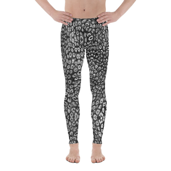 Black White Leopard Men's Leggings, Animal Print Meggings Compression Tights - Made in USA/EU-Heidikimurart Limited -Heidi Kimura Art LLC Black Leopard Print Men's Leggings, Animal Print Leopard Modern Meggings, Men's Leggings Tights Pants - Made in USA/EU (US Size: XS-3XL) Sexy Meggings Men's Workout Gym Tights Leggings