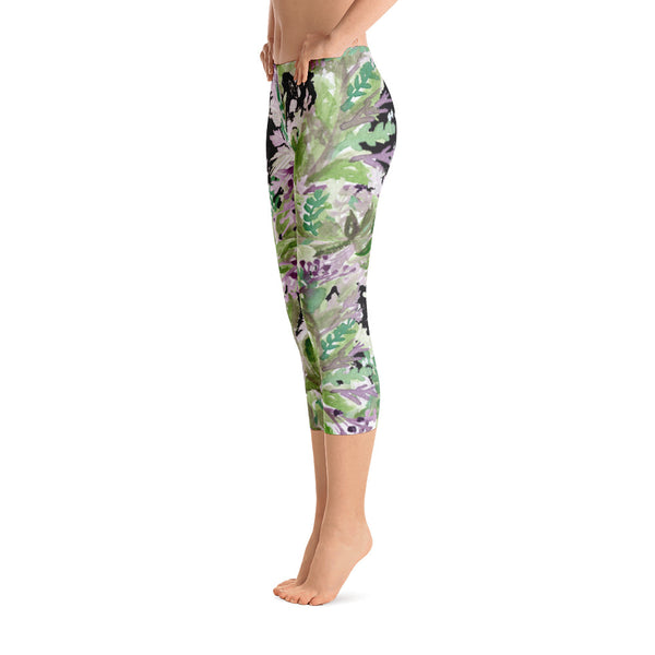 Lavender Women's Capri Leggings, Floral Black Purple Print Capris Tights- Made in USA/EU-capri leggings-Heidi Kimura Art LLC