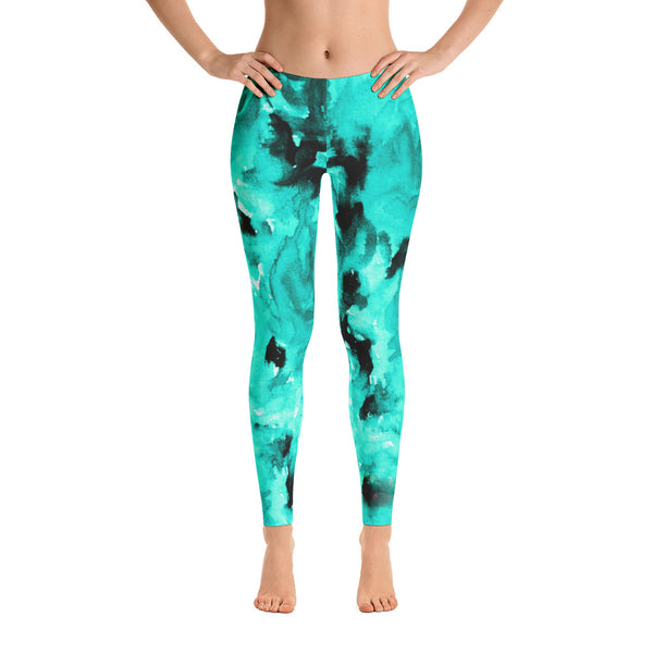 Turquoise Blue Rose Floral Print Women's Long Casual Leggings- Made in USA-Casual Leggings-Heidi Kimura Art LLC Turquoise Blue Rose Leggings, Turquoise Blue Rose Floral Print Women's Long Casual Leggings/ Running Tights - Made in USA/EU (US Size: XS-XL)