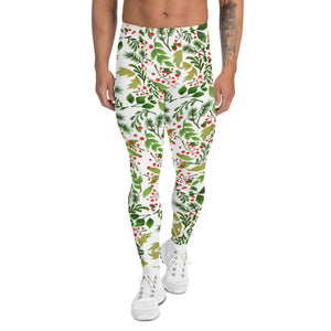 Christmas Floral Happy Men's Leggings, White Xmas Party Meggings Tights-Heidikimurart Limited -XS-Heidi Kimura Art LLC Christmas Floral Happy Men's Leggings, White Xmas Party Sexy Meggings Men's Workout Gym Tights Leggings, Men's Compression Tights Pants - Made in USA/ EU (US Size: XS-3XL)