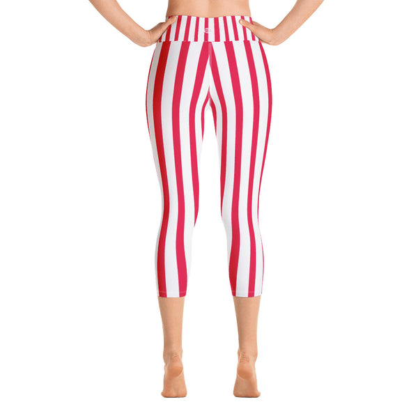 Red White Striped Women's Capri Pants, Vertically Stripe Print Capri Leggings- Made in USA/EU-Capri Yoga Pants-Heidi Kimura Art LLC