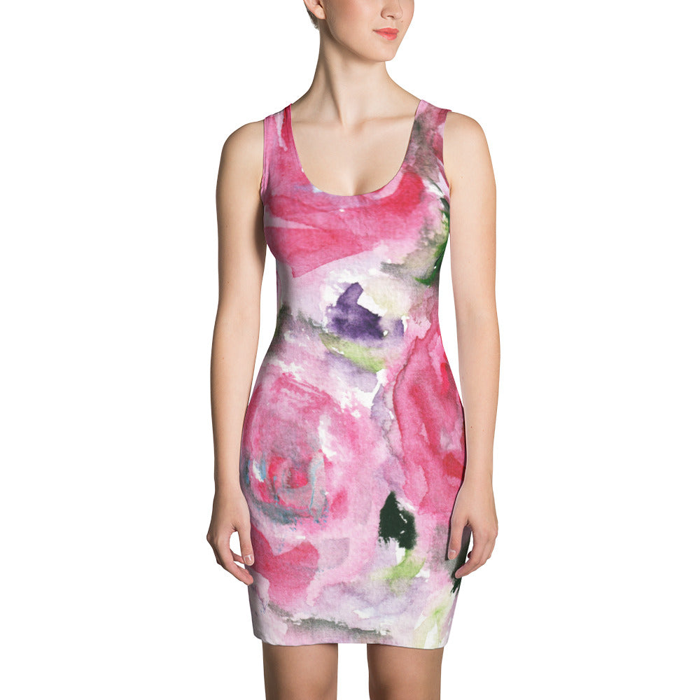Spring Floral Pink Abstract Rose Print Long Sleeveless Women's Dress - Made in USA/EU-Women's Sleeveless Dress-XS-Heidi Kimura Art LLC Pink Rose Floral Dress, Crewneck Feminine Spring Day Floral Pink And Green Abstract Rose Print Long Sleeveless Women's Dress - Made in USA/EU (US Size: XS-XL)