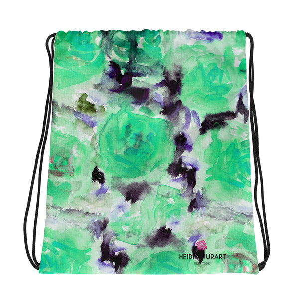 "Yu Turquoise Blue Rose Floral Print Designer 15""x17"" Drawstring Bag-Made in USA/Europe - Heidi Kimura Art LLC"