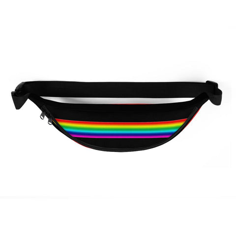 Gay Pride Black Rainbow Stripe Print Designer Best Fanny Pack Travel Bag- Made in USA/EU-Fanny Pack-Heidi Kimura Art LLC