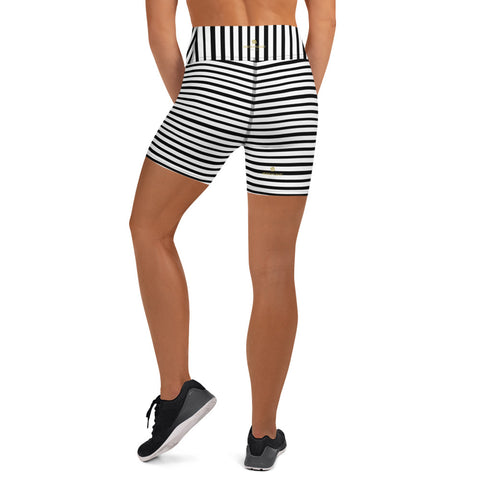 Stretchy Black White Striped Print Women's Premium Yoga Tight Workout Shorts- Made in USA/EU-Yoga Shorts-Heidi Kimura Art LLC