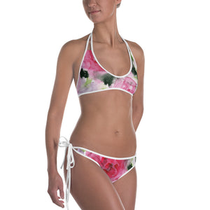 Pink Rose Floral Print Bikini Women's 2 pc Designer Swimsuit Swimwear- Made in USA/EU-Swimwear-White-XS-Heidi Kimura Art LLC