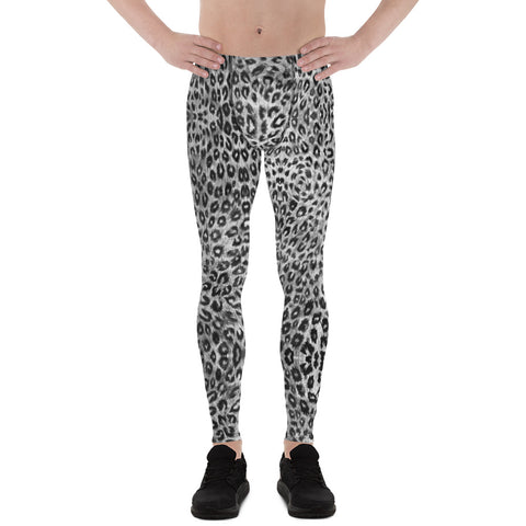 Black White Leopard Men's Leggings, Wild Animal Print Compression Tights-Made in USA/EU-Heidikimurart Limited -Heidi Kimura Art LLC Black Leopard Print Men's Leggings, Grey White Black Animal Print Leopard Modern Meggings, Men's Leggings Tights Pants - Made in USA/EU (US Size: XS-3XL) Sexy Meggings Men's Workout Gym Tights Leggings