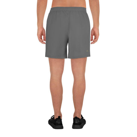 Dark Gray Solid Color Premium Quality Men's Athletic Long Shorts - Made in Europe-Men's Long Shorts-Heidi Kimura Art LLC Dark Gray Men's Shorts, Dark Gray Solid Color Print Premium Quality Men's Athletic Long Fashion Shorts (US Size: XS-3XL) Made in Europe