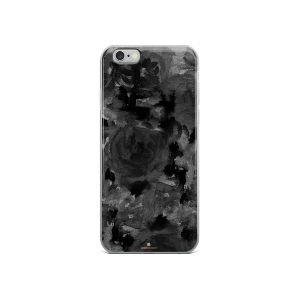 Gray Floral Print iPhone Case, Abstract Rose Floral Print iPhone Cellphone Phone Case-Phone Case-iPhone 6/6s-Heidi Kimura Art LLC