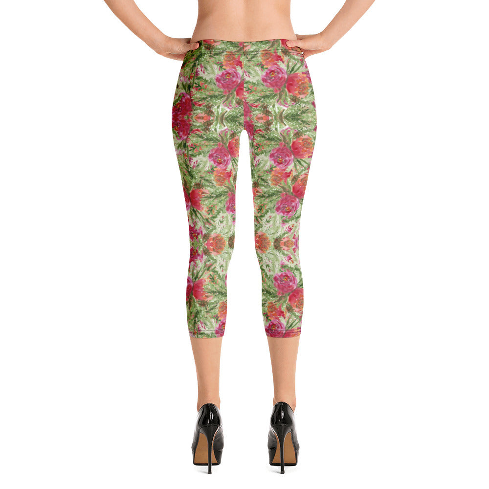 Red Floral Print Capri Leggings-Heidikimurart Limited -XS-Heidi Kimura Art LLC