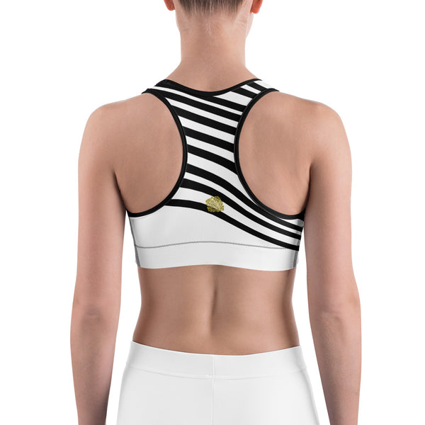 Classic White Black Diagonal Stripe Print Women's Sports Fitness Bra-Made in USA/EU-Sports Bras-Heidi Kimura Art LLC