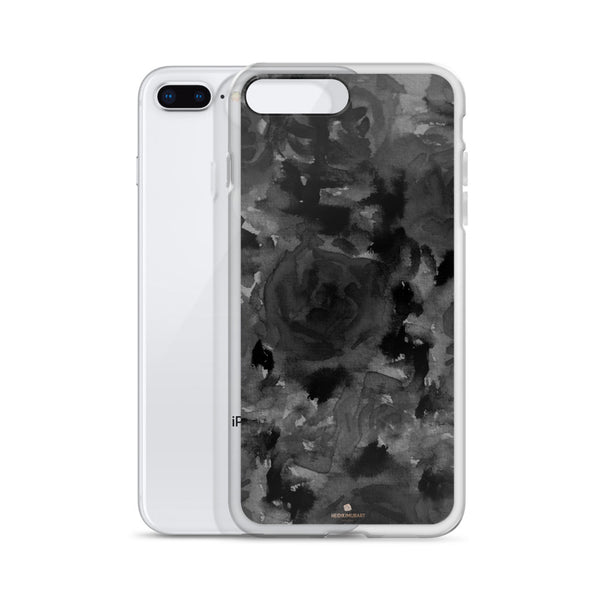Gray Floral Print iPhone Case, Abstract Rose Floral Print iPhone Cellphone Phone Case-Phone Case-Heidi Kimura Art LLC