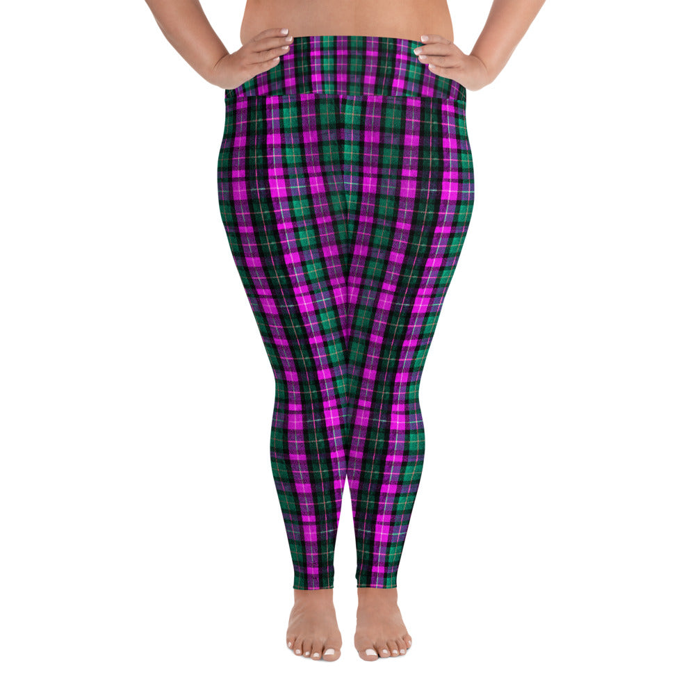 Pink Green Tartan Plaid Scottish Print Women's Plus Size Soft Leggings - Made in USA/EU-Women's Plus Size Leggings-2XL-Heidi Kimura Art LLC