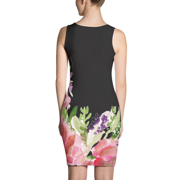 Green Women's 1-pc Black Pink Floral Print Women's Sleeveless Dress - Made in USA/EU-Women's Sleeveless Dress-Heidi Kimura Art LLC