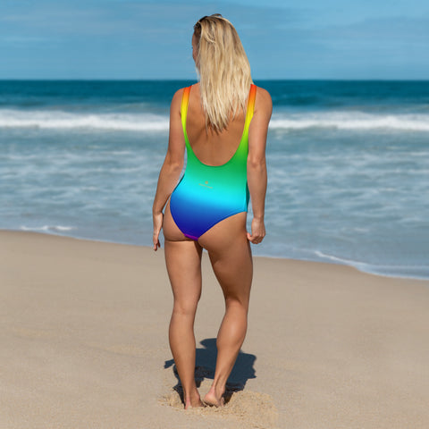 Rainbow Ombre Women's Swimwear, Bright Colorful Gay Pride Women's One-Piece Swimwear Bathing Suits Sexy Luxury Beach Wear - Made in USA/EU (US Size: XS-3XL) Plus Size Available