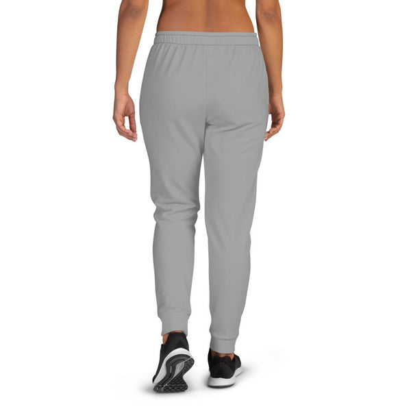 Medium Gray Solid Color Print Premium Slim Fit Premium Women's Joggers-Made in EU-Women's Joggers-Heidi Kimura Art LLC Medium Gray Women's Sweatpants, Medium Gray Solid Color Premium Printed Slit Fit Soft Women's Joggers Sweatpants -Made in EU (US Size: XS-3XL) Plus Size Available, Solid Coloured Women's Joggers, Soft Joggers Pants Womens