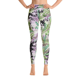 French Lavender Floral Purple Spandex Yoga Leggings/ Long Yoga Pants-Made in USA-Leggings-XS-Heidi Kimura Art LLC French Lavender Floral Leggings, Floral Lavender Print Purple Spandex Yoga Leggings/ Long Yoga Pants - Made in USA/EU (US Size: XS-XL)