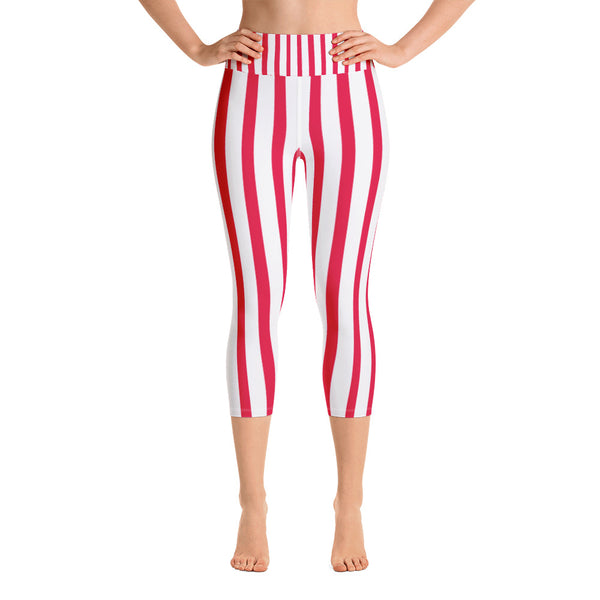 Red White Striped Women's Capri Pants, Vertically Stripe Print Capri Leggings- Made in USA/EU-Capri Yoga Pants-XS-Heidi Kimura Art LLC
