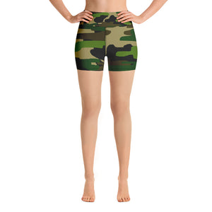 High Waist Military Army Green Camouflage Print Women's Yoga Shorts, Made in USA-Yoga Shorts-XS-Heidi Kimura Art LLC