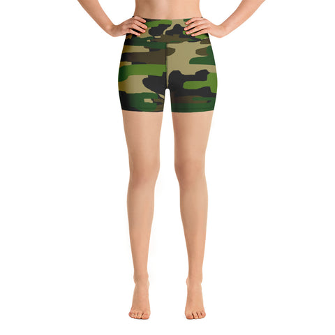 Kimi High Waist Military Green Camouflage Print Women's Yoga Shorts, Made in USA (US Size: XS-XL) Kimi High Waist Military Green Camouflage Print Women's Yoga Shorts, Made in USA (XS-XL)