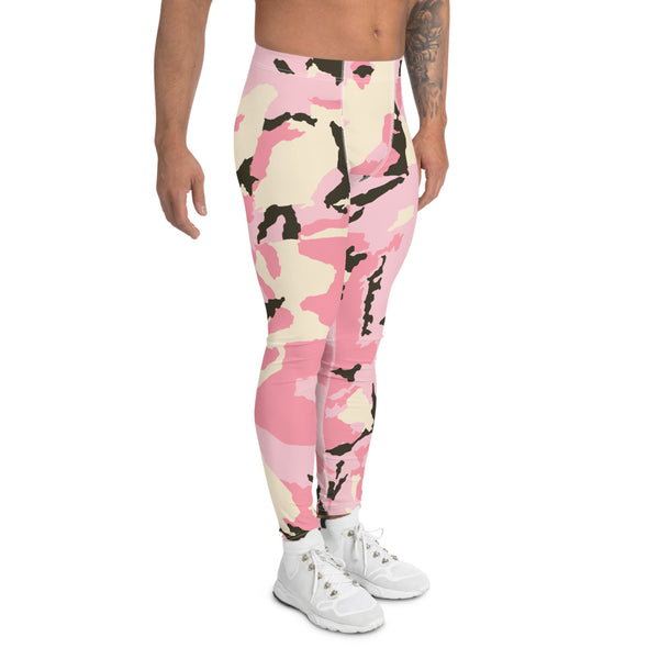 Pink Camo Print Men's Leggings, Camouflage Army Military Print Run Tights-Made in USA/EU-Heidikimurart Limited -Heidi Kimura Art LLC Pink Camo Print Men's Leggings, Camouflage Army Military Print Men's Leggings, Camo Men's Modern Meggings, Men's Leggings Tights Pants - Made in USA/EU (US Size: XS-3XL) Sexy Meggings Men's Workout Gym Tights Leggings