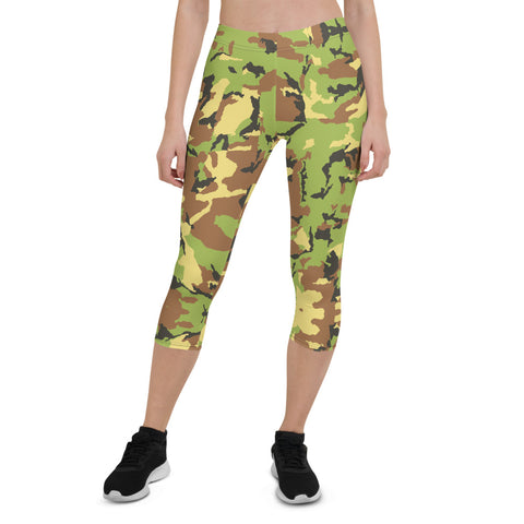 Green Camo Capri Leggings, Casual Camouflage Tights-Made in USA/EU-Heidi Kimura Art LLC-XS-Heidi Kimura Art LLC Green Camo Capri Leggings, Casual Camouflage Army Print Capri Designer Spandex Dressy Casual Fashion Leggings - Made in USA/EU (US Size: XS-XL)