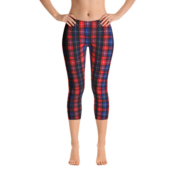 Red Plaid Print Women's Polyester Spandex Capri Leggings - Made in USA-capri leggings-Heidi Kimura Art LLC
